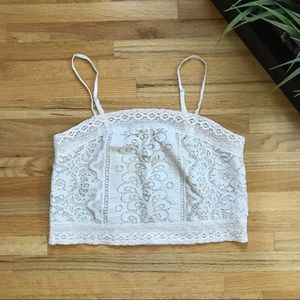 American Eagle cream lace crop top